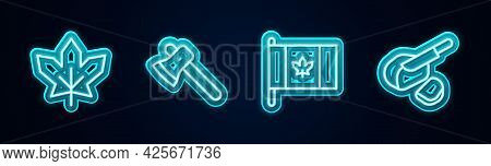 Set Line Canadian Maple Leaf, Wooden Axe, Flag Of Canada And Peameal Bacon. Glowing Neon Icon. Vecto
