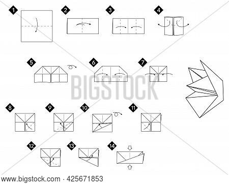 Step By Step How To Make Origami Fox Face Toy . Vector Monochrome Instructions Illustration. Black A