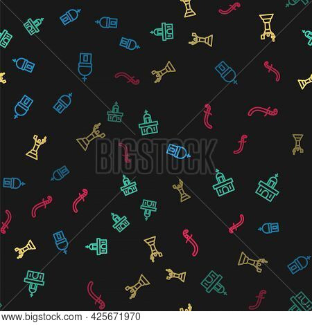 Set Line Church Tower, Building, Mother Motherland Monument And Medieval Sword On Seamless Pattern.