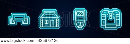 Set Line Embroidered Towel, Ukrainian House, Cossack And Shirt. Glowing Neon Icon. Vector