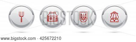 Set Line Garden Pitchfork, Ukrainian House, Trident And Woman. Silver Circle Button. Vector