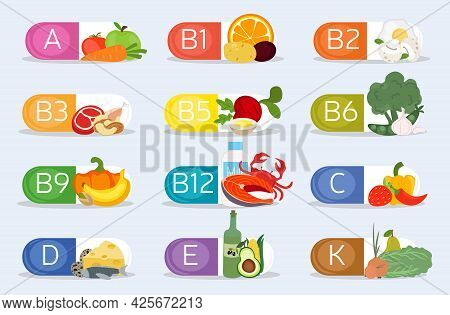 Vitamins And Minerals Nutrition Set. Healthy Food Supplement Icons. Diet Infographic Chart. Vitamins