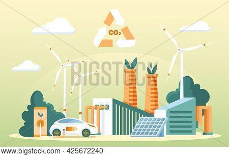 Recycling Carbon Dioxide Concept. Renewable Methanol Alternative Energy. Ecological Co2 Consumption