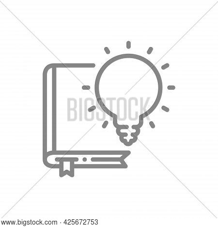 Light Bulb Over Book Line Icon. Brainstorm, Encyclopedia Symbol