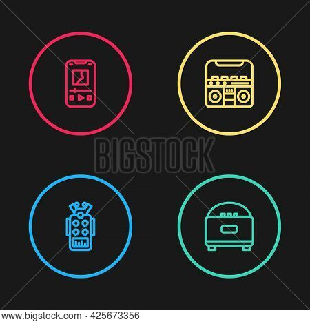 Set Line Microphone, Stereo Speaker, Home Stereo With Speakers And Music Player Icon. Vector