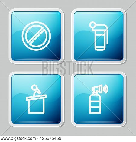 Set Line Ban, Hand Grenade, Stage Stand Or Tribune And Air Horn Icon. Vector