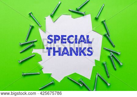 Sign Displaying Special Thanks. Word For Appreciating Something Or Someone In A Most Unique Way Work