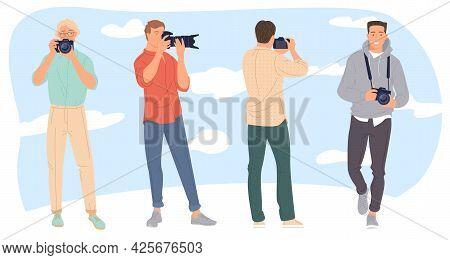 Set Of Various Male Photographers Holding Photo Camera. Cute Cartoon Characters Taking Photo Shot. F