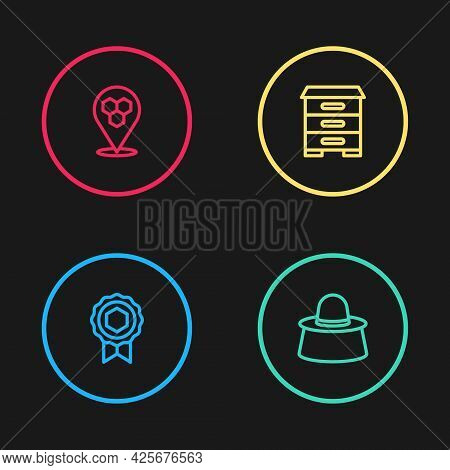 Set Line Honey Medal, Beekeeper With Protect Hat, Hive For Bees And Honeycomb Location Icon. Vector