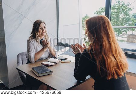 Mental Health, Wellness, Support, Emotional Stress, Therapy Concept. Communication Session Of Woman