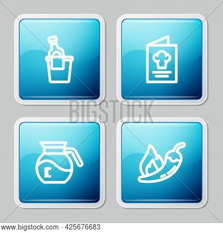 Set Line Champagne In An Ice Bucket, Cookbook, Coffee Pot And Hot Chili Pepper Pod Icon. Vector