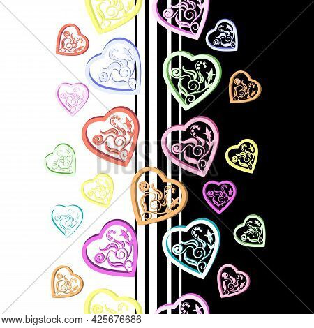 Pattern Of Multi-colored Hearts.vector Pattern Of Multi-colored Hearts On A Black And White Backgrou
