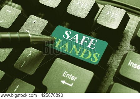 Text Sign Showing Safe Hands. Business Overview Ensuring The Sterility And Cleanliness Of The Hands