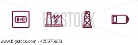 Set Line Electrical Outlet, Antenna, Nuclear Power Plant And Battery Icon. Vector