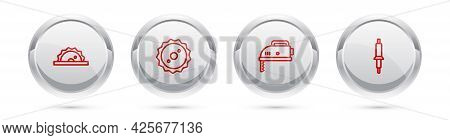 Set Line Electric Circular Saw, Circular Blade, Jigsaw And Soldering Iron. Silver Circle Button. Vec