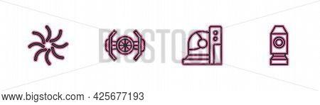 Set Line Black Hole, Astronaut Helmet, Cosmic Ship And Rocket Icon. Vector