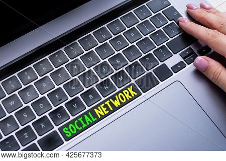 Hand Writing Sign Social Network. Business Idea A Framework Of Individual Linked By Interan Individu