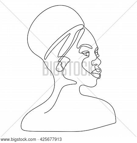 Stylish Hand Drawn One Continuous Line Woman In Sunglasses. Fashionable Typography Girl In Minimalis
