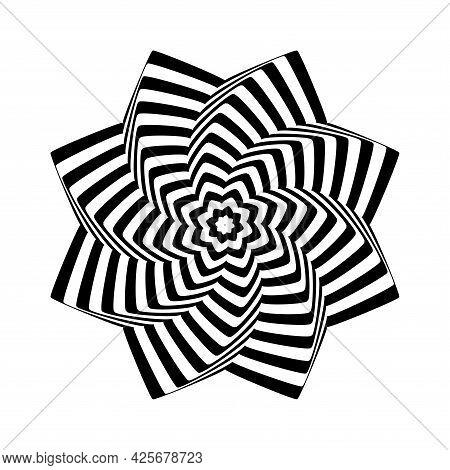 Op Art Design Element. Twisting Rotation Movement. Vector Illustration.