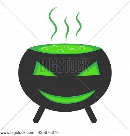 Witch Cauldron Of Green Potion. Vector Illustration.