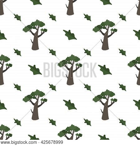 Seamless Pattern With Green Trees. Forest Plants, Natural Print Of Oak Thickets And Flying Leaves.