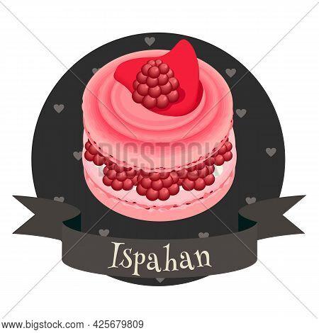French Dessert Ispahan. Colorful Cartoon Style Illustration For Cafe, Bakery, Restaurant Menu Or Log