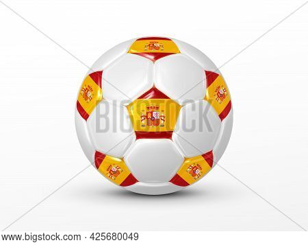 Soccer Ball With The Spain National Flag Isolated On White Background. Spanish National Football Tea
