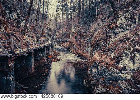 Landscape Of Old Wooden Bridge Over River In Mountains. Green Spring And Devil's Passage (zeleni Vir