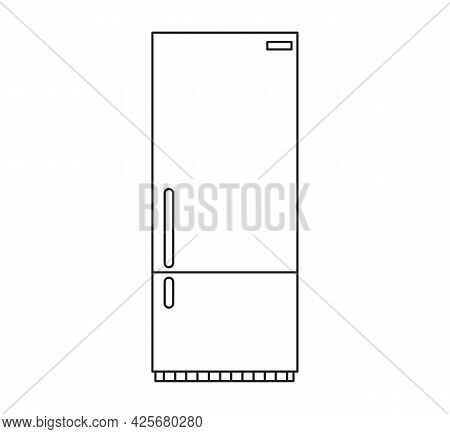 Refrigerator Icon Flat. Refrigerator Vector Icon Line Art Refrigerator.