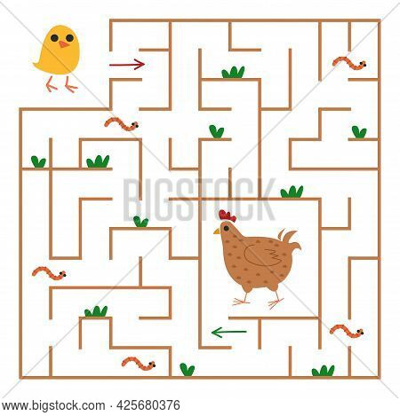 The Chicken Is Looking For A Path To The Chicken Through The Maze. Square Maze With Animals For Chil