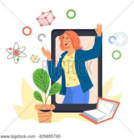 Online Distance Courses And Remote Education Concept With Woman At Smartphone Backdrop. Educational