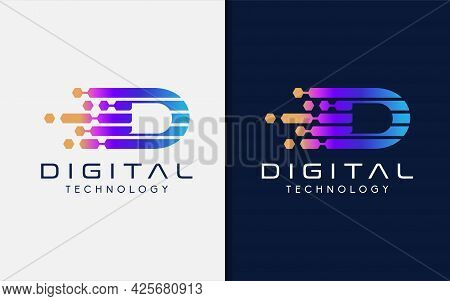 Initial Letter D Logo Design With Colorful Gradient. Usable For Business, Tech And Company Logo Desi