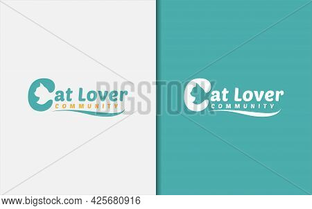 Cat Lover Community Logo Design With Abstract Cat Silhouette Inside The Letter C Concept. Graphic De