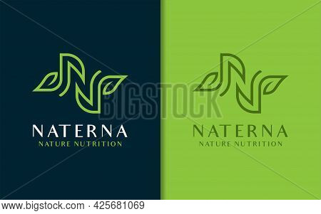 Creative Letter N Symbol With Green Lines And Leaf Combination. Logo Vector Illustration. Graphic De