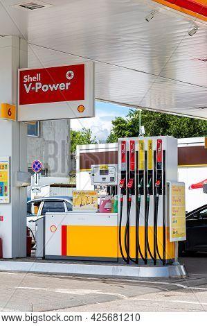 Samara, Russia - July 2, 2021: Shell Gas Station In Sunny Day. Shell V-power Fuel Station. Royal Dut