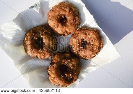 Delicious Poha Wada Or Poha Pakoda Also Known As Flattened Rice And Bread Crumps Fritters. Indian Sn