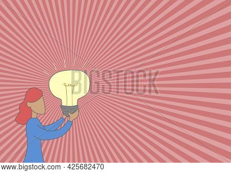 Lady Standing Drawing Holding Light Up Showing New Ideas. Woman Touching Illuminated Bulb Presenting