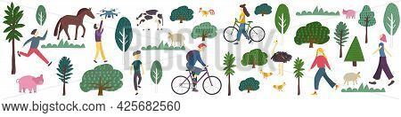 Rural Banner With People Leisure Activity Trees, Grass And Farm Animal. Characters In Village Or Far
