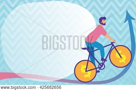 Man Drawing Travelling Using Bike With Dollar Sign Wheels Going Upward. Young Sports Athlete Riding