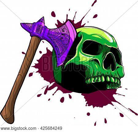 Vector Illustration Of Skull Head Murdered By Ax