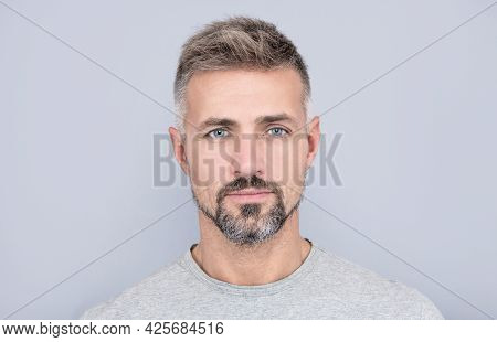 Portrait Of Mature Man. Adult Guy Has Graying Hair. Handsome Man With Grizzled Beard.