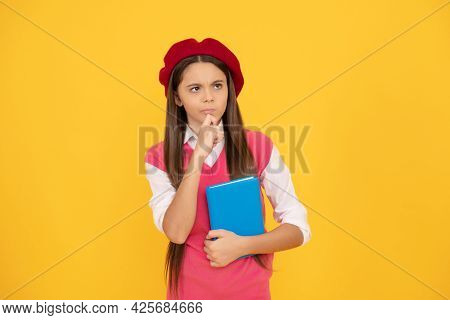 Curiosity. Thoughtful Child With Book. Teenage Student. Tween And Youth. Education.