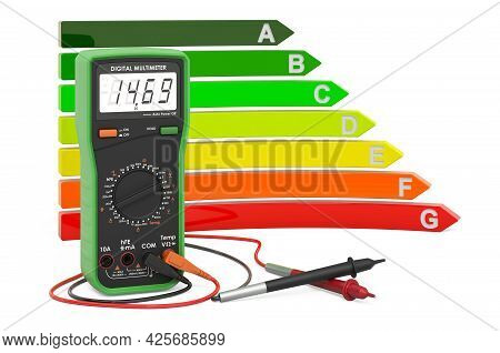 Digital Multimeter With Energy Efficiency Chart, 3d Rendering Isolated On White Background