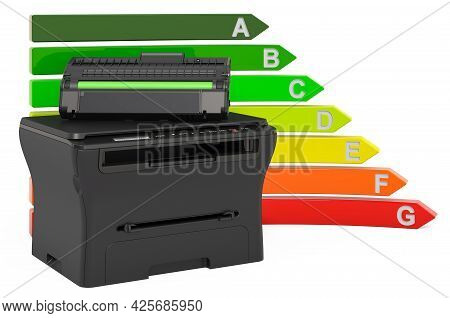 Multifunction Printer Mfp With Energy Efficiency Chart, 3d Rendering Isolated On White Background