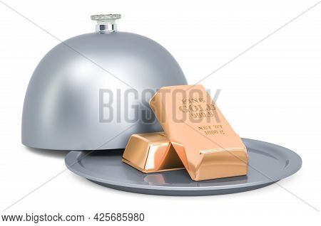 Restaurant Cloche With Gold Bullions, 3d Rendering Isolated On White Background