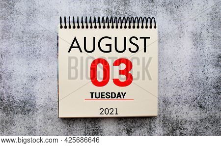 Cube Shape Calendar For August 03 On Wooden Surface With Empty Space For Text.