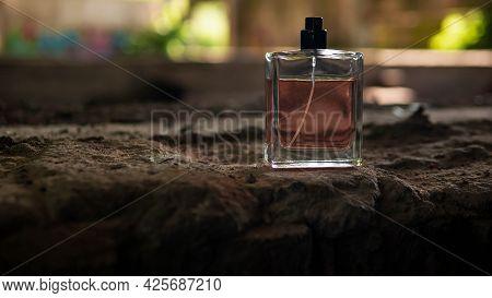 Men's Perfumes On Stones. A Jar Of Perfume.