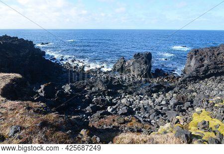 Black Rock Coastline Along Snaefellsnes Peninsula In Iceland.