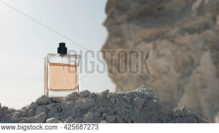 Perfume For Men On A High Mountain. Jar Of Perfume For Male Copy Space