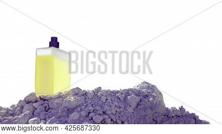 A Bottle Of Yellow Perfume For A Man Is Isolated On A White Background With Copy Space. Eau De Toile